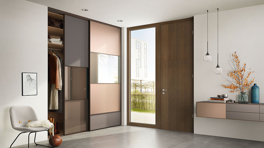 Gleittür S1200, Schiebetür, Gleittürsystem, Dunkel Bronze, Matelac Natural Brown, Spiegel, Floatglas, Innensystem Legno, Urban Structures Matrix Pinie Dunkel, Möbelsystem Ligran, Lowboard wandhängend, Schubkästen, Bronze satiniert, Sliding door S1200, dark bronze, matelac natural brown, mirror, floatglass, interior system legno, urban sturctures matrix dark pine, funriture system ligran, lowboard, wall-mounted, drawer, bronze satin