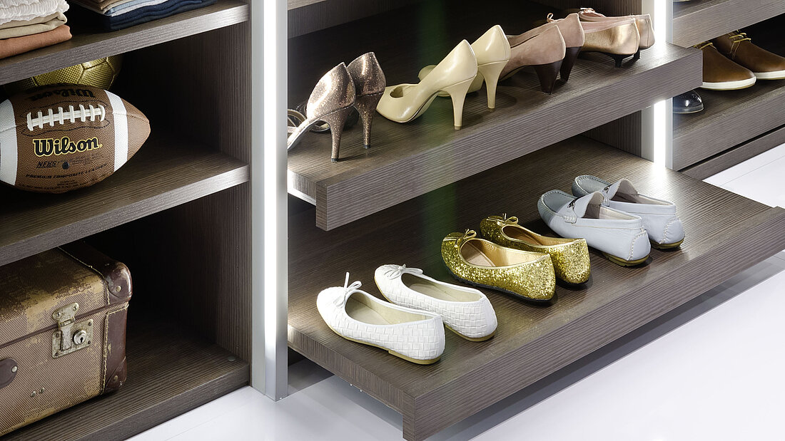 pull-out shelf, shelf for ironing clothes, sorting, arranged storage of shoes