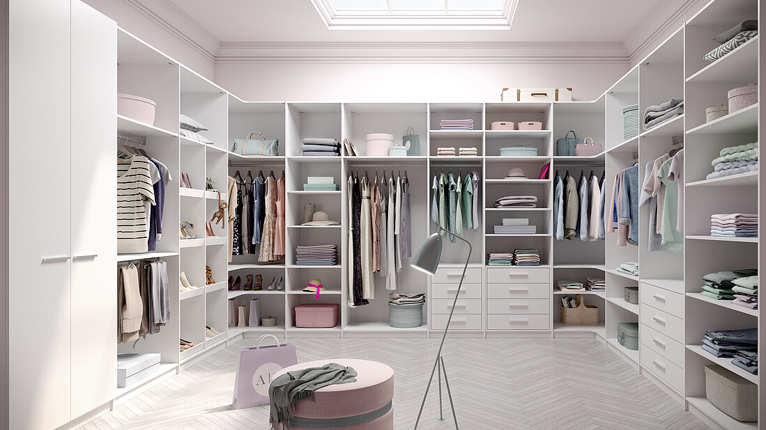 Innensystem, Ecoline, weiß, Hosenauszug, Regal, Stauraum, Ecklösung, begehbarer Kleiderschrank, Ankleide, Interiorsystem Ecoline, white, Pull-out pants hanger, shelf, storage space, stowage space, corner solution, walk-in closet, wardorbe, dressing room, cabinet