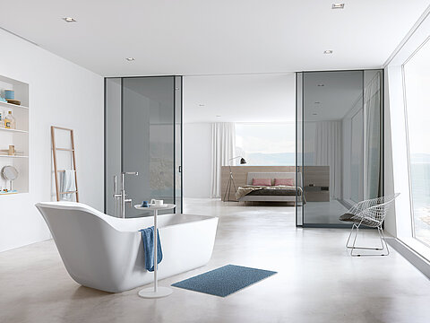 Gleittürsystem, Gleittür, Schiebetür, S800, S1500 AIR syncro, Graublau lackiert, Spiegel silber, Glas, ESG, Badezimmer, Schlafzimmer, Raumteiler, Bad, Sliding door system, S800, S1500, AIR syncro, grey blue lacquered, mirror silver, glass, esg, bathroom, bath, bedroom, room divider